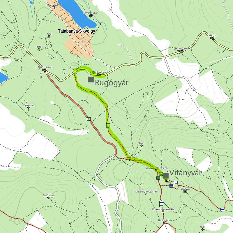 a zöld vár jelzés a térképen. (térkép forrása: http://terkep.turistautak.hu/)