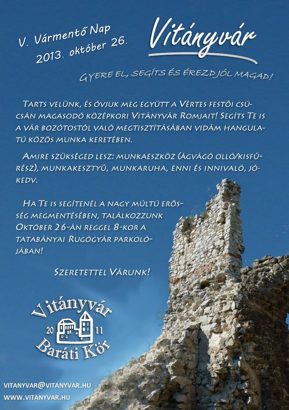 V. Vitányvár nap - Meghívó