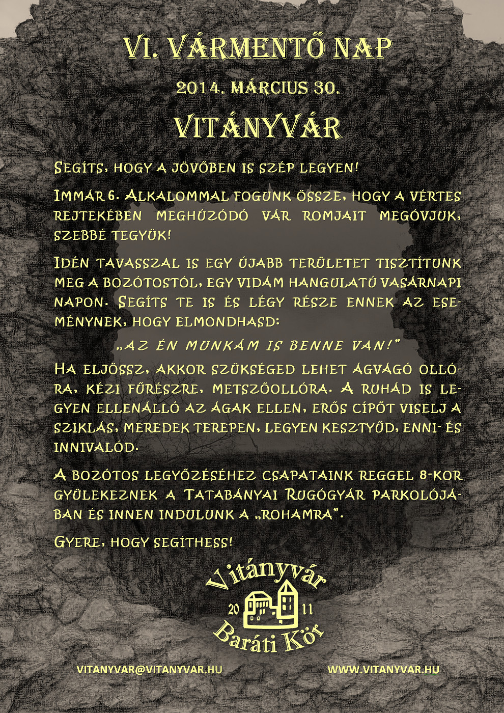 VI. Vitányvár nap - Meghívó